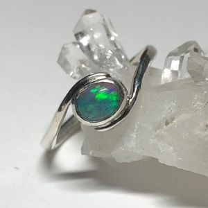 Lab-created opal, handmade sterling silver setting